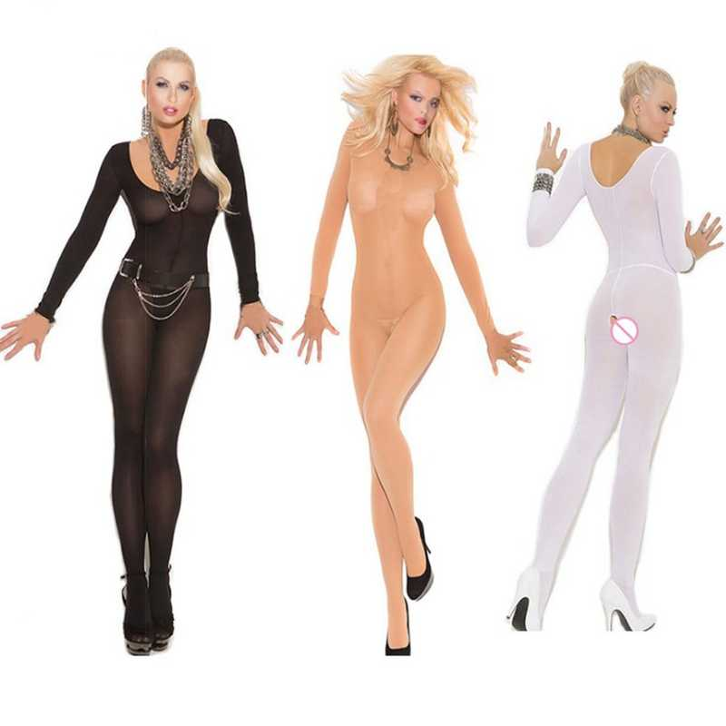 f14817a3892 Crotchless sheer bodystocking Full Body pantyhose ultra-thin transparent  long-sleeve open crotch Strap