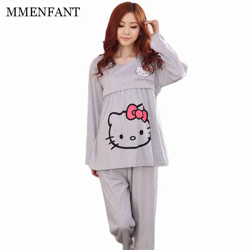 Maternity Feeding pajamas sets 2017 Spring and Autumn cute cat printing maternity clothes women vestidos pregnancy clothes