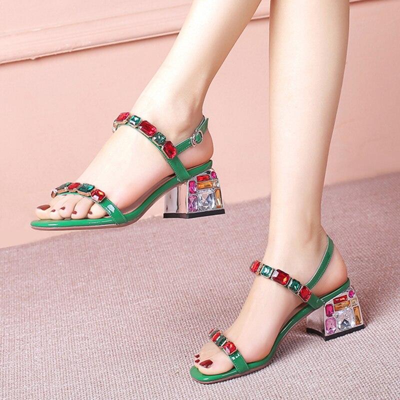 Cristal Perlées Chaussures Cheville Blanc Sandales Femmes La Strass
