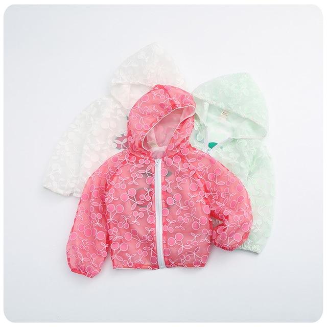 f8e326333 Korean Children's Garment Spring New Product Girl Baby Even Hat Cherry  Sunscreen Serve Loose Coat Girl Fashion Jacket Cardigan