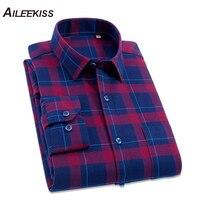 2018 Man Long Sleeve Shirts Men S Flannel Plaid Dress Shirts Male Casual Warm Soft Comfort