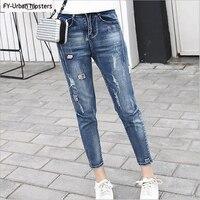 women ankle length jeans hole patch elastic denim cotton pencil pants woman harem jeans stretch plus size boyfriend jeans ripped