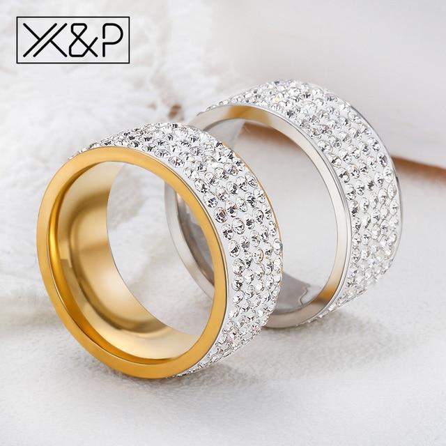 X&P Fashion Trendy Korean Gold Silver Shiny Crystal Ring for Women Men Party Ann