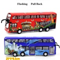new sound and light alloy pull back door large marine theme park bus alloy toy double-decker bus