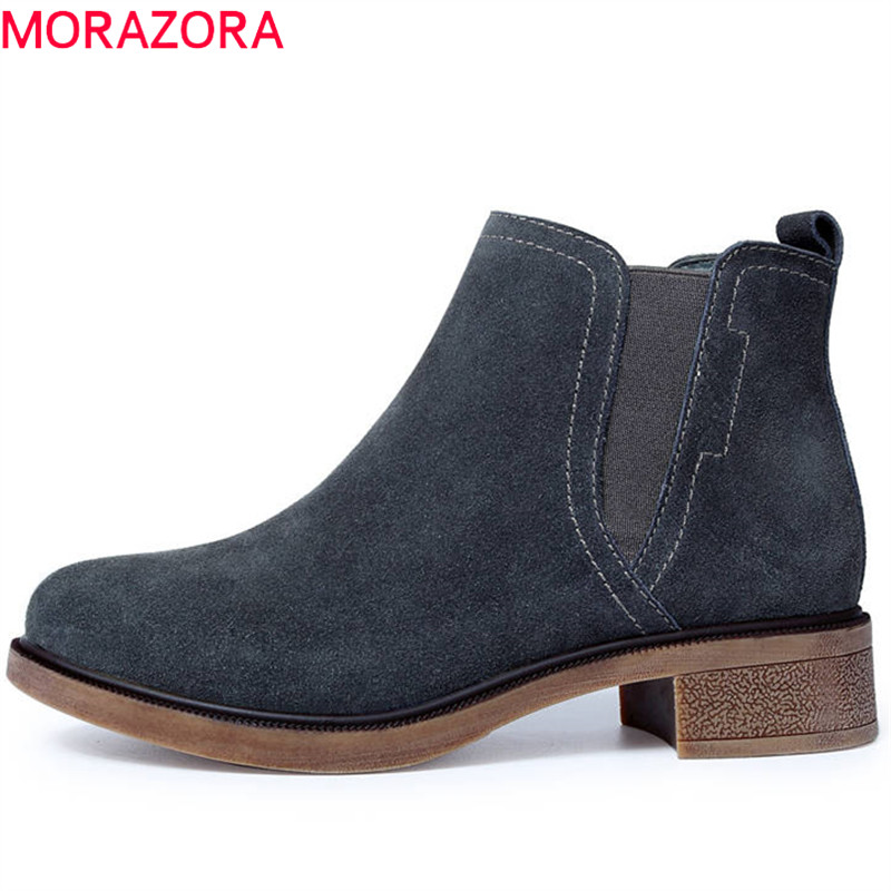 MORAZORA 2018 large size 33-43 top quality suede leather autumn boots round toe slip on ankle boots for women square heels shoes enmayla new women slip on chelsea boots suede black crystal ladies ankle boots for women round toe med heels shoes woman
