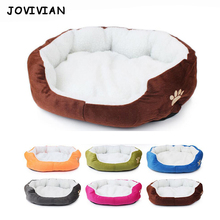 Candy Color Soft Cotton Cat Dog Bed Winter Warm Teddy House Kitten Sofa Pet Mat for Small Medium