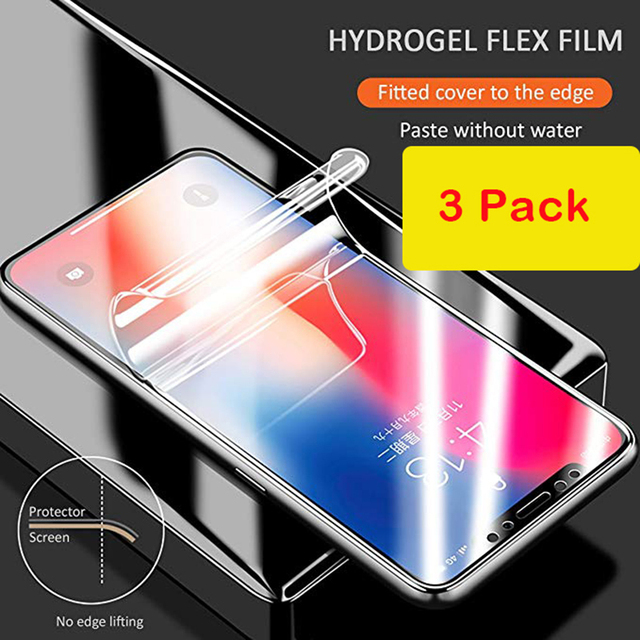 lowest price 68321 2dba8 US $4.76 19% OFF|3 piece Hydrogel silicon Screen Protector For iPhone X 6 7  8 Plus Full Cover Hydrogel front and back Film-in Phone Screen Protectors  ...