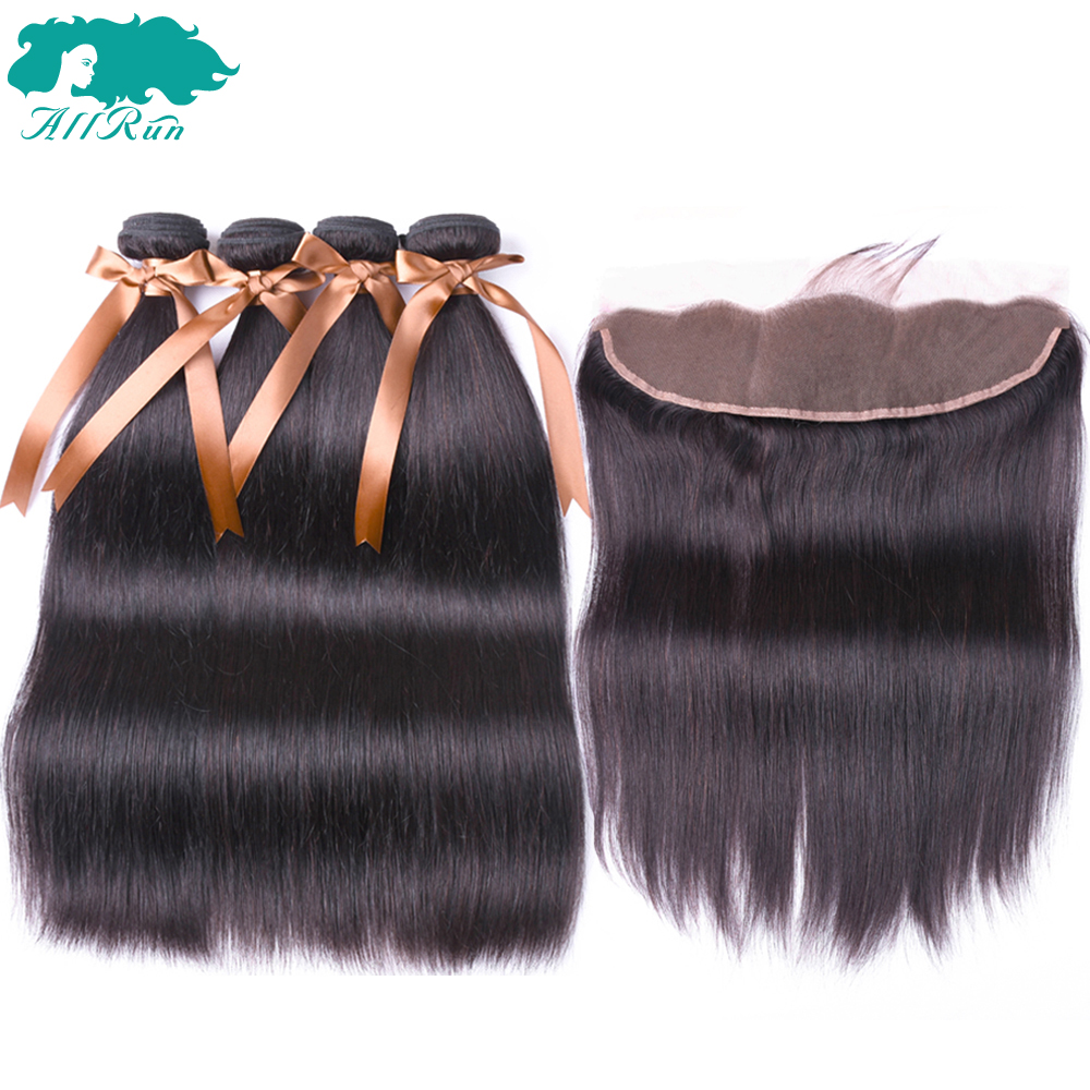 Allrun Indian Straight Hair Bundles With Closure 4 Pieces Human Hair Front Ear to Ear Lace Frontal With Bundles Non Remy Hair
