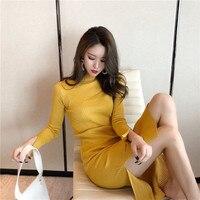 Quality Long Dresses For Women 2019 Autumn Winter Spring High Collar long sleeved Vestidos Fashion Slit Dress Office Lady D206