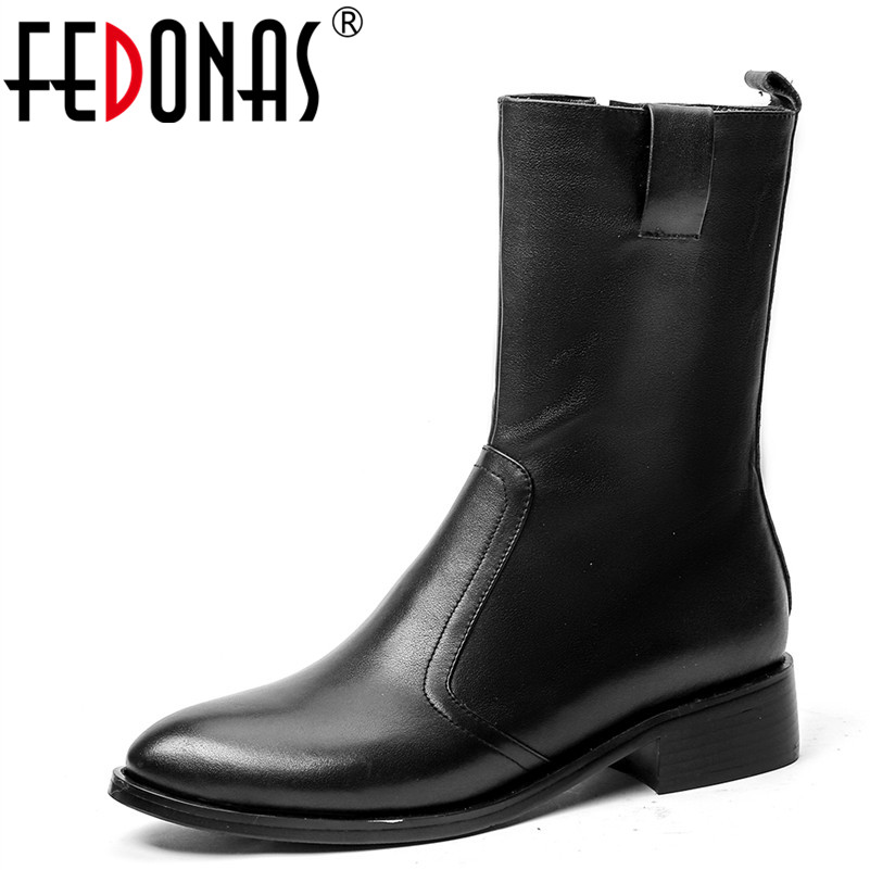 FEDONAS Brand Fashion Women Ankle Boots Genuine Leather Autumn Winter Warm Office Shoes Woman Round Toe Elegant Casual PumpsFEDONAS Brand Fashion Women Ankle Boots Genuine Leather Autumn Winter Warm Office Shoes Woman Round Toe Elegant Casual Pumps