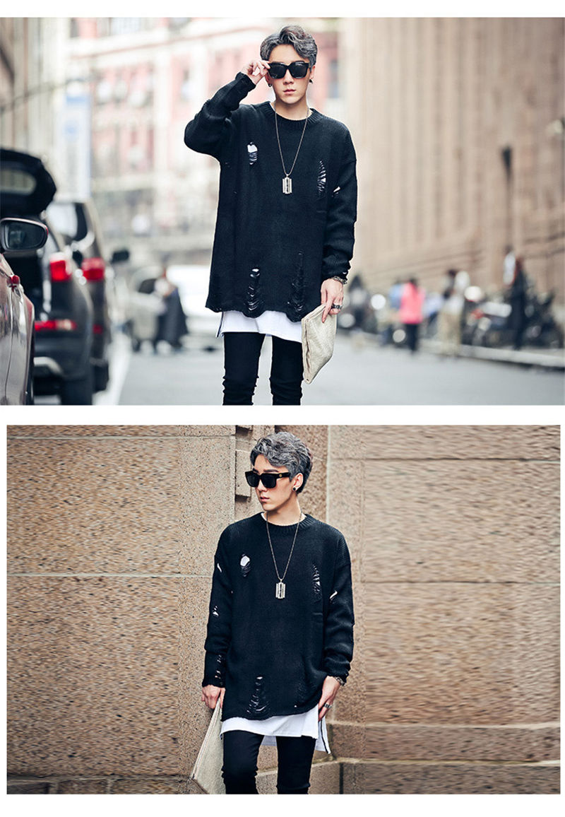 VERSMA New Harajuku Ripped Holes Oversized Kanye West Sweater Men Pullover Thick Hip Hop Loose Justin Bieber Sweater for Couples
