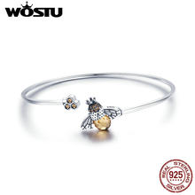 WOSTU Genuine 925 Sterling Silver Hot Sell Bee Glitter Chain Bracelet For Women Original Link Bangle Fashion Jewelry Gift CQB104(China)