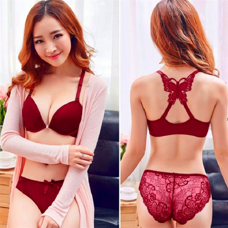 Bra And Panty Set Women Lingerie Set Sexy Butterfly Front Closure Lace Bras For Women Push Up Bra Set Women's Underwear Bh
