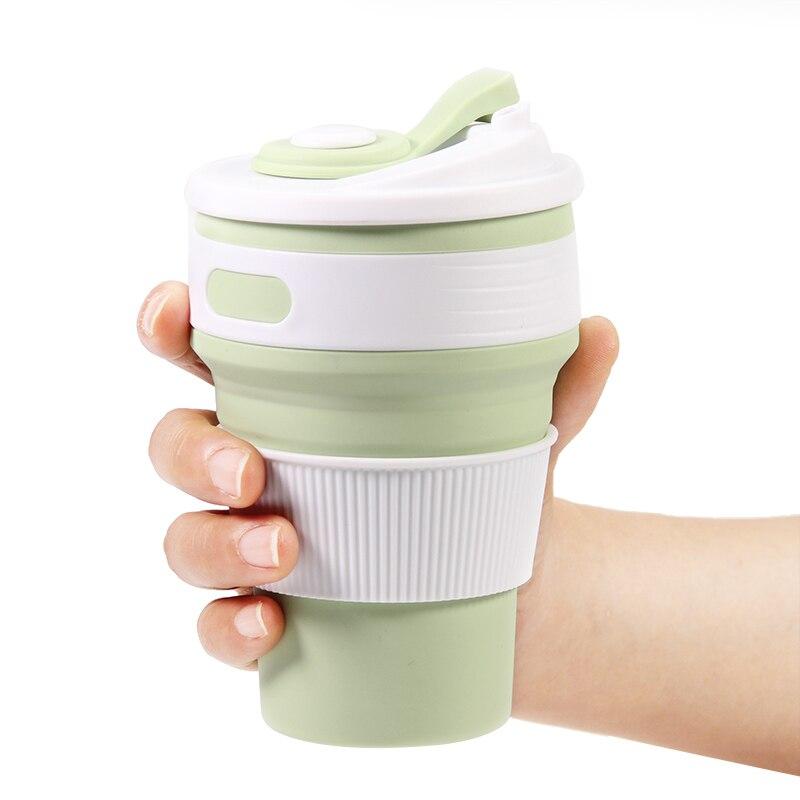 Faltbare Silikon Tasse, 12 unze (350 ml) BPA FREI für Outdoor Camping Wandern Picknick-dicht Deckel Design