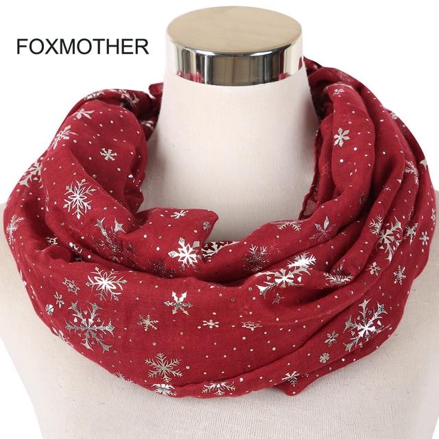 4af56da8f638 FOXMOTHER New Fashion Winter Burgundy Caramel Snowflake Scarf Snood Hijab Evening  Wrap Bufanda Scarves Ladies