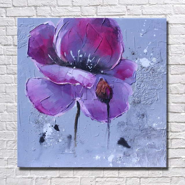 Artist Painted Purple Flower Wall Art Home Decoration Living Room ...