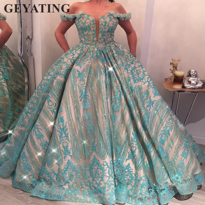 Turquoise Blue Ball Gown Princess Prom Dresses 2019 Glitter Sequins Pageant Gowns for Women Long Formal Evening Dress Elegant