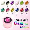 Nail Transparent Color Nail GEM Soak Off 3D Nail Art Paiting 12 Colors 8 ml Gem Stone Gel Vanish color nail paint color uv gel