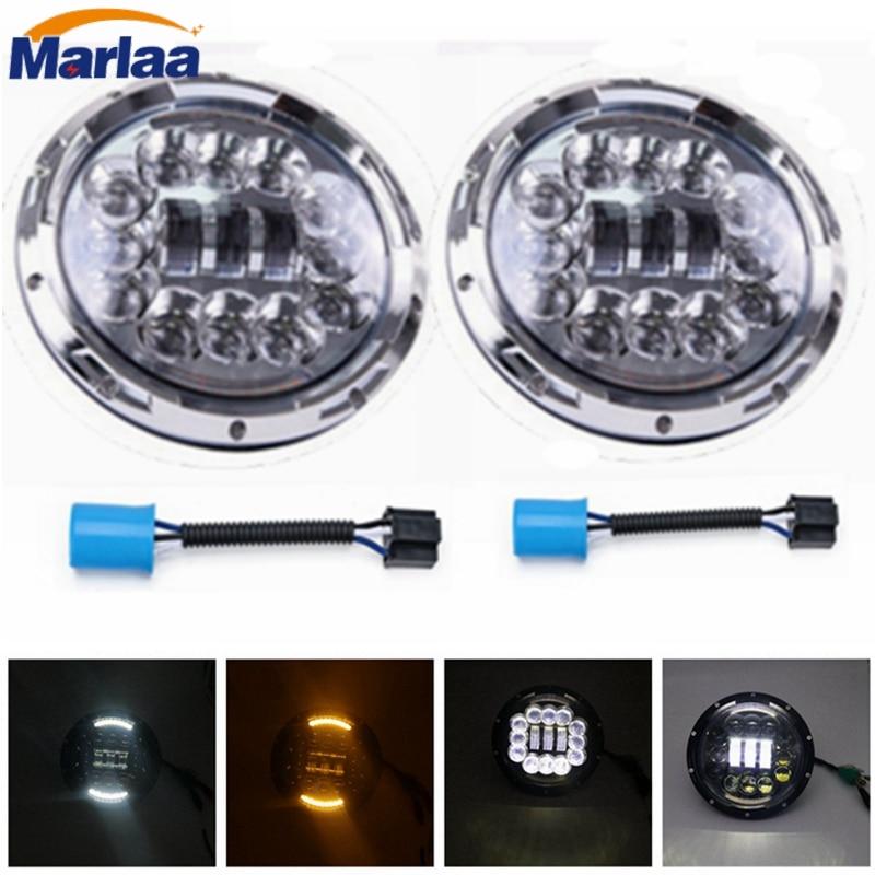 7 LED Headlight for Jeep Wrangler JK Headlamp with Halo Angel Eye & Turn Signal Lights & DRL marloo pair 7 led headlight for jeep wrangler jk headlamp with halo angel eye