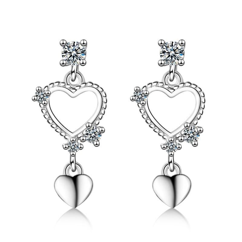 Everoyal Trendy Zircon Heart Earrings Girls Birthday Accessories Latest Female 925 Sterling Silver For Women Jewelry