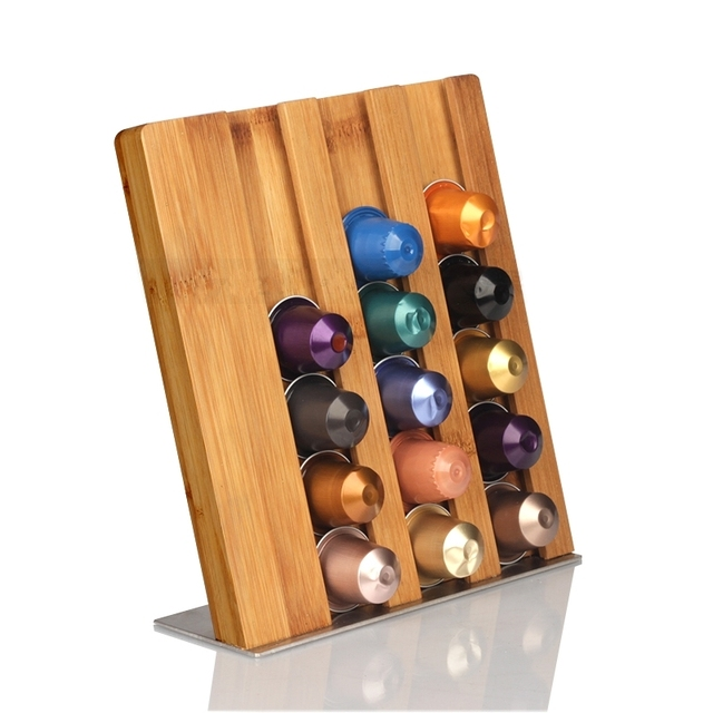 1PC Bamboo Material Coffee Pod Holder Rack Capsule Storage Stand For 21pcs Nespresso  Capsule