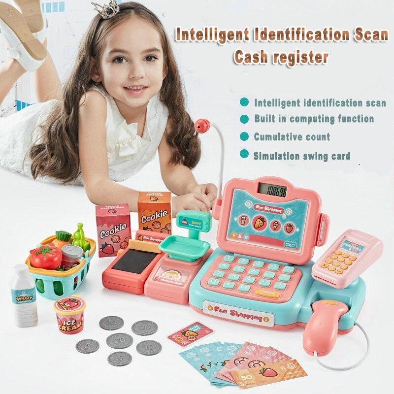 Intelligente Identifikation Scan Kassen Kinder Pretend Spielen Geld Supermarkt Kassierer Spielzeug Mädchen Spiele Weihnachten Geschenke