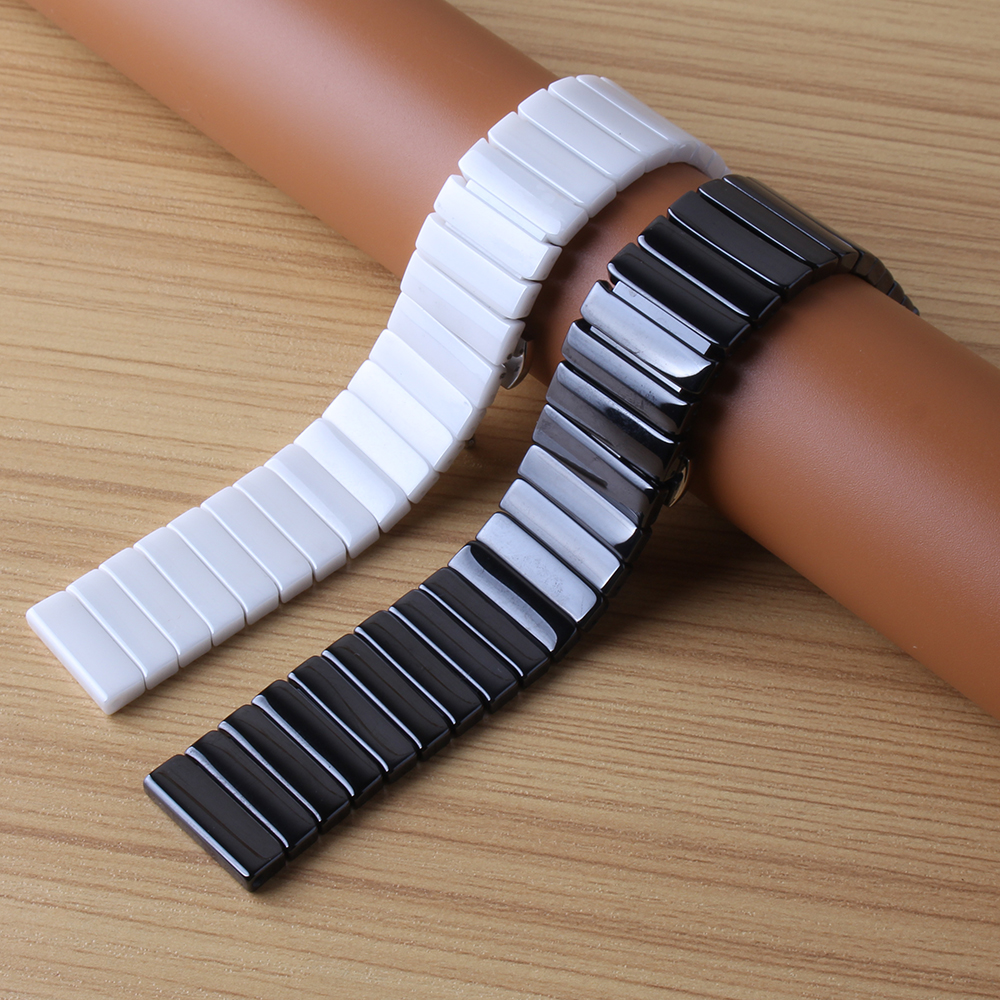2017 High Quality Ceramic Watchband special Link Bracelet Strap 20mm 22mm black white Watch Strap bracelet fashion polished belt 20mm 22mm ceramic