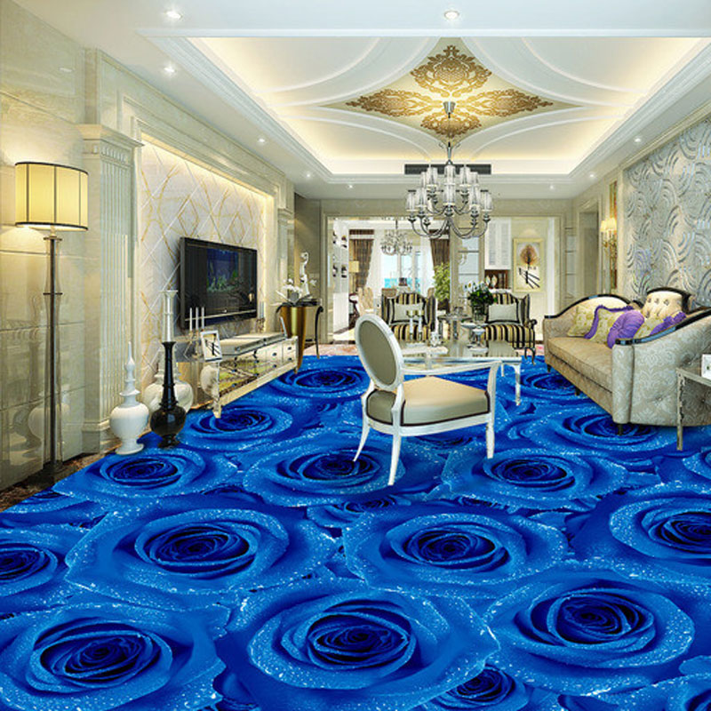 Us 27 53 47 Off Blue Rose Photo Wallpaper Murals Anti Wear 3d Floor Tiles Stickers Bedroom Bathroom Pvc Self Adhesive Vinyl Flooring Wall Papers In