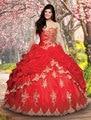 Laço Do ouro Apliques Frisada Sweetheart Organza Layered Red Vestidos Quinceanera Bola Vestidos 2016 Vintage Gothic Masquerade Vestido