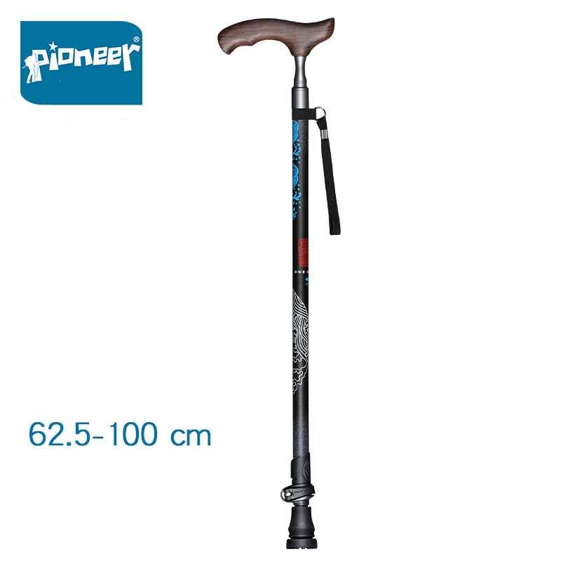 PIONEER 1 Pcs Elderly Lightweight Adjustable Carbon Fiber Walking Cane Stick with Comfortable T Handle Quick Lock, Parents Gift