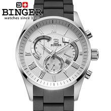 Switzerland men's watch luxury brand Wristwatches BINGER Quartz watch full stainless steel Chronograph Diver glowwatch BG-0407-2