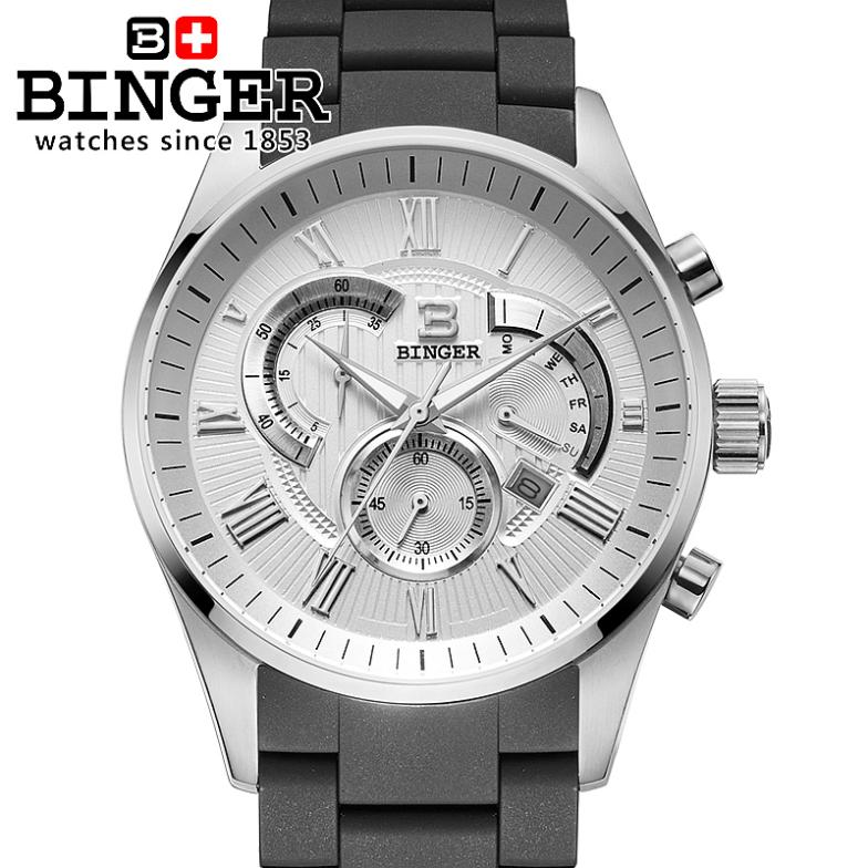 Switzerland men's watch luxury brand Wristwatches BINGER Quartz watch full stainless steel Chronograph Diver glowwatch BG-0407-2