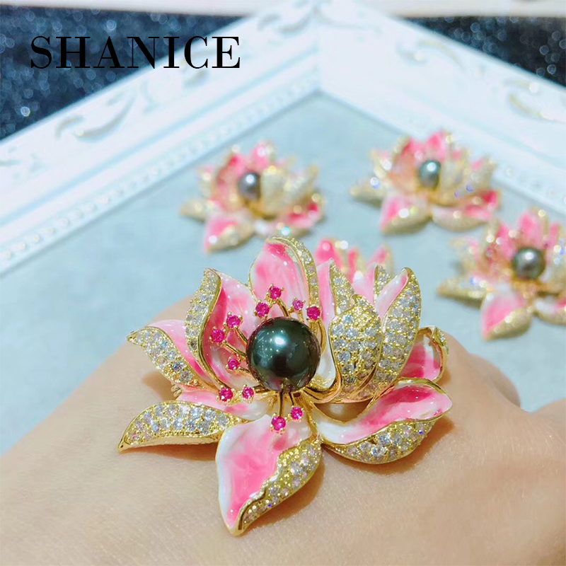 SHANICE Fancy Style Enameled Petal Micro Pave CZ Pink Lotus Flower Brooches Gold Tone Centered Mother of Pearl Blossom Lotus Pin fancy 3d lotus pond design bathroom stickers