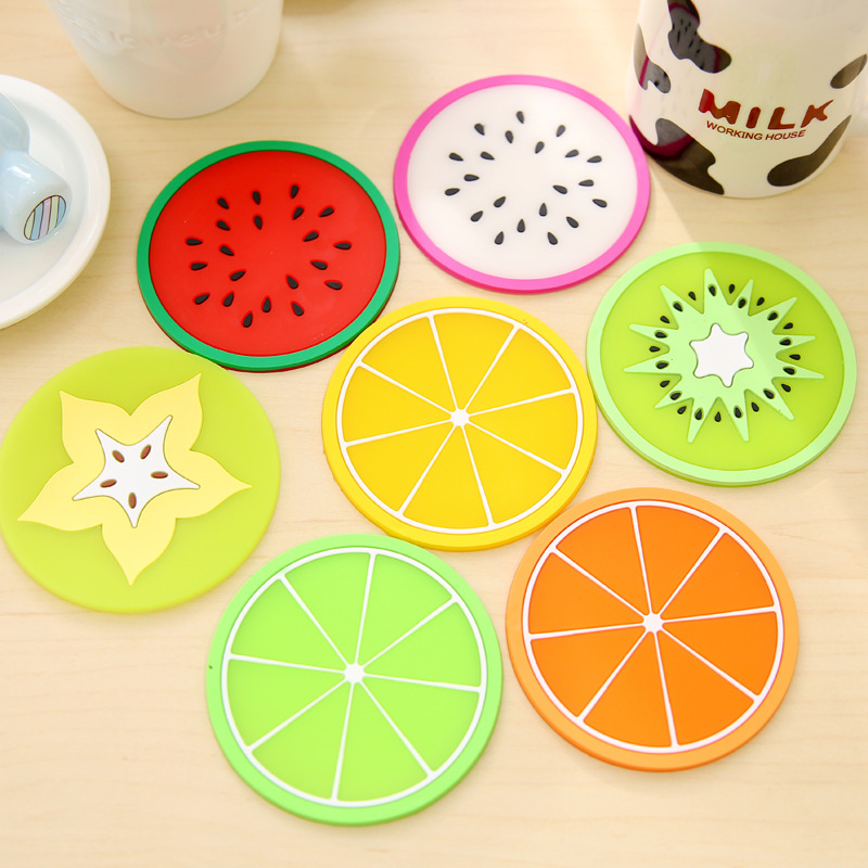 7 pcs/lot Fresh Fruit Coaster Novelty Placement for Mugs Cup Table Decoration Stationery Office Material School Supplies
