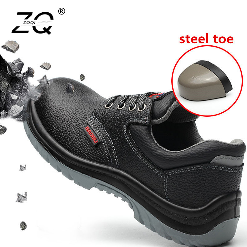 ZOQI Unisex Steel Toe Safety Shoes Men Work Boots Leather Safety Boots Men Sneakers Black Ankle Work Shoes Men Army Boots Size48