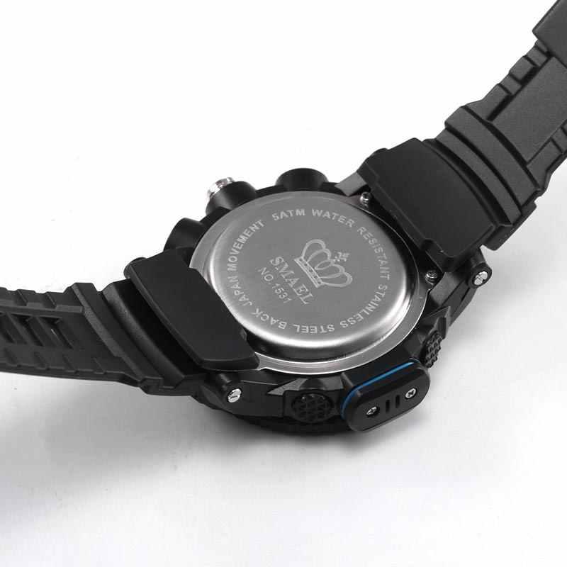 남자 스포츠 시계 SMAEL 브랜드 듀얼 디스플레이 시계 남자 LED 디지털 아날로그 전자 석 영 시계 30M 방수 남성 시계