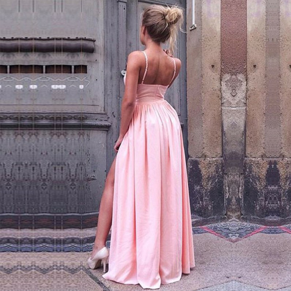 Bbonlinedress High Quality Prom Dresses 2019 Sexy Spaghetti Straps Evening Dresses Floor Length Pink Evening Gown with Split Rob in Prom Dresses from Weddings Events