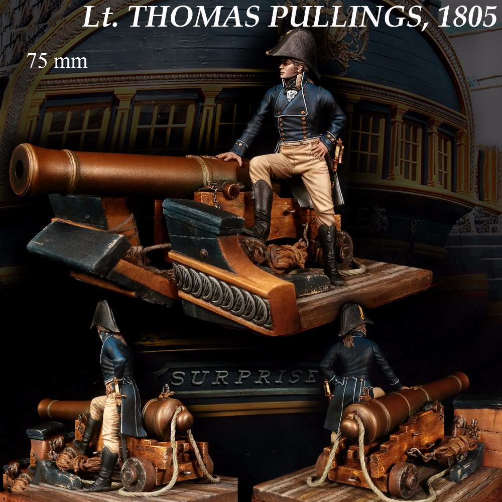 Assembly Unpainted Scale 1 24 75 mm THOMAS PULLINGS 1805 year standing 75mm Historical toy Resin