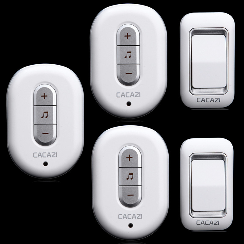 ФОТО 2 transmitter+3 receiver  High Quality IP44 Waterproof 300m Wireless Doorbell With 48  Chimes Home Smart Alarm Push Button