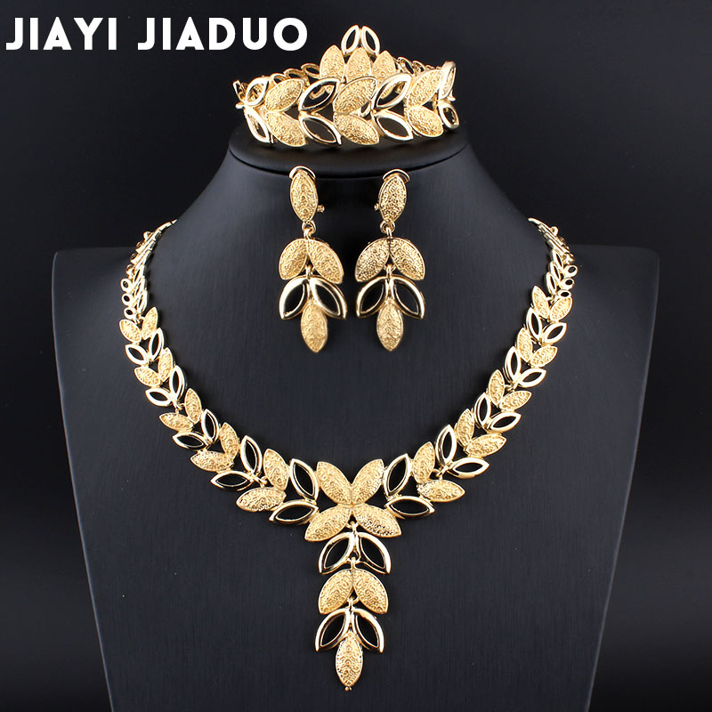 Jiayijiaduo Jewelry Sets Wedding Crystal Heart Bridal African Gold Color Necklace Earrings Bracelet Women Party Sets