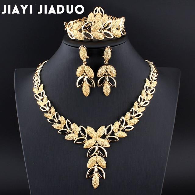 Jiayijiaduo תכשיטי סטי חתונה קריסטל לב אופנה כלה אפריקאי זהב צבע שרשרת עגילי צמיד נשים המפלגה סטים