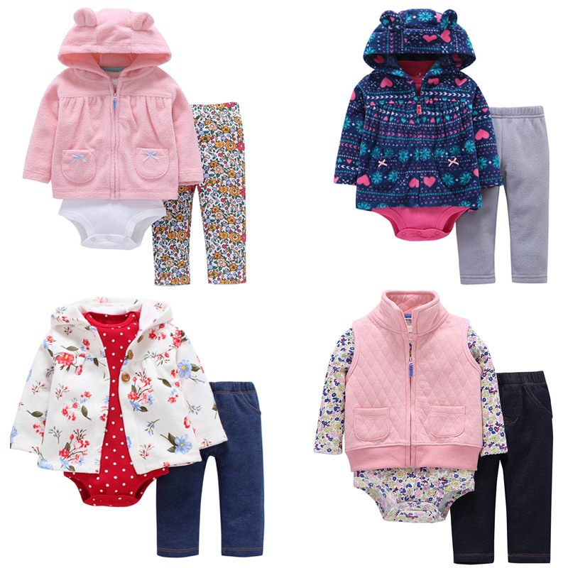 FREE SHIPPING Carter toddler Baby Girl Bodysuit Set 3pcs pack Hooded Long Sleeve Outwear+Long Sleeve Bodysuit+Pants