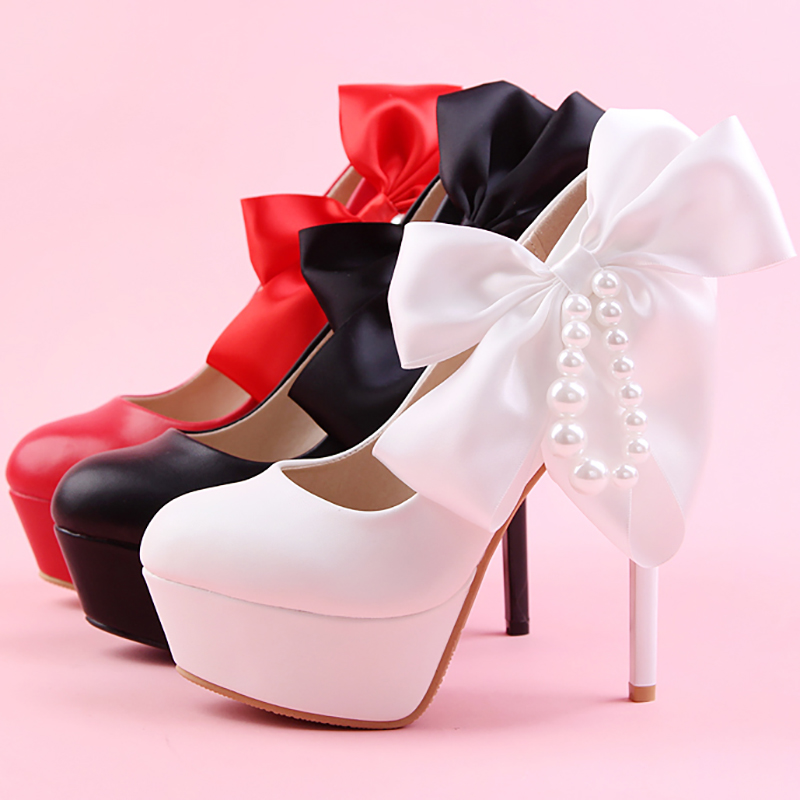 Blanco Cadena Mujeres Zapatos Perla De Novia Cm Boda Tacones Lazo 14 Rojo Negro Plataforma Altos pqUGzSMV