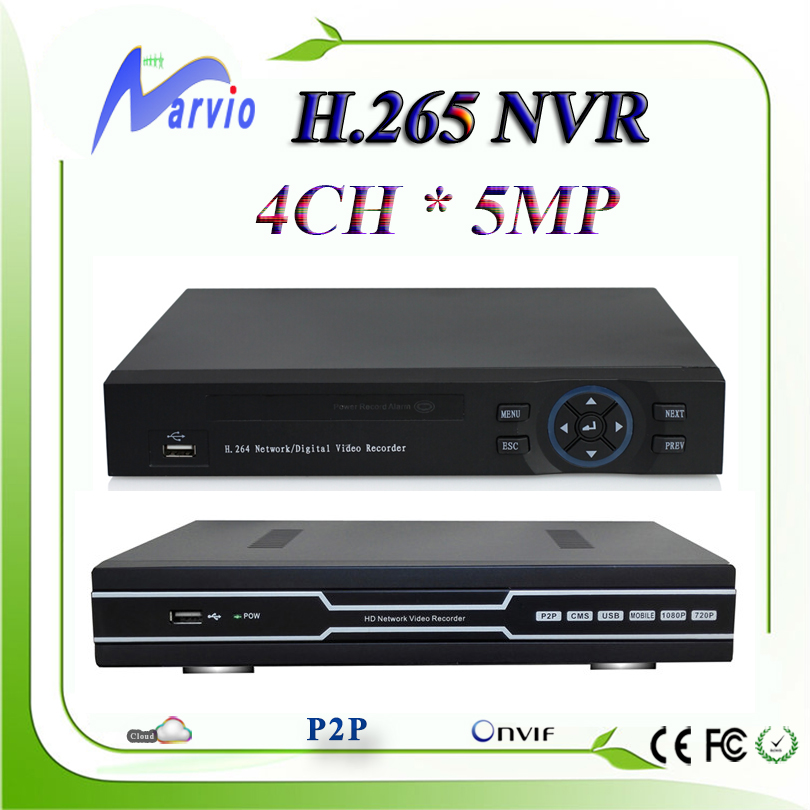 New arrive 4CH 5MP 3MP 1080P H.265 network video recorder NVR full HD HDMI VGA output compatible with H.264, free shipping h 265 8ch 16ch network hd video recorder nvr p2p onivf security dvr hdmi vga hdd 5 0mp 1080p 720p