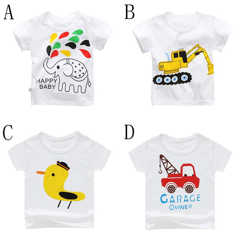 T-Shirt Tops Short-Sleeve White Girls Boys Summer Printed Baby New-Style Cotton Children