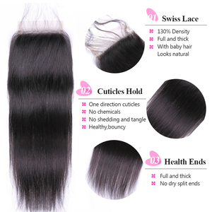Image 5 - ISEE 3 Bundles Straight Hair With Closure Remy Human Hair Bundles With Closure  4*4 Free Part Swiss Lace Indian Hair Extensions