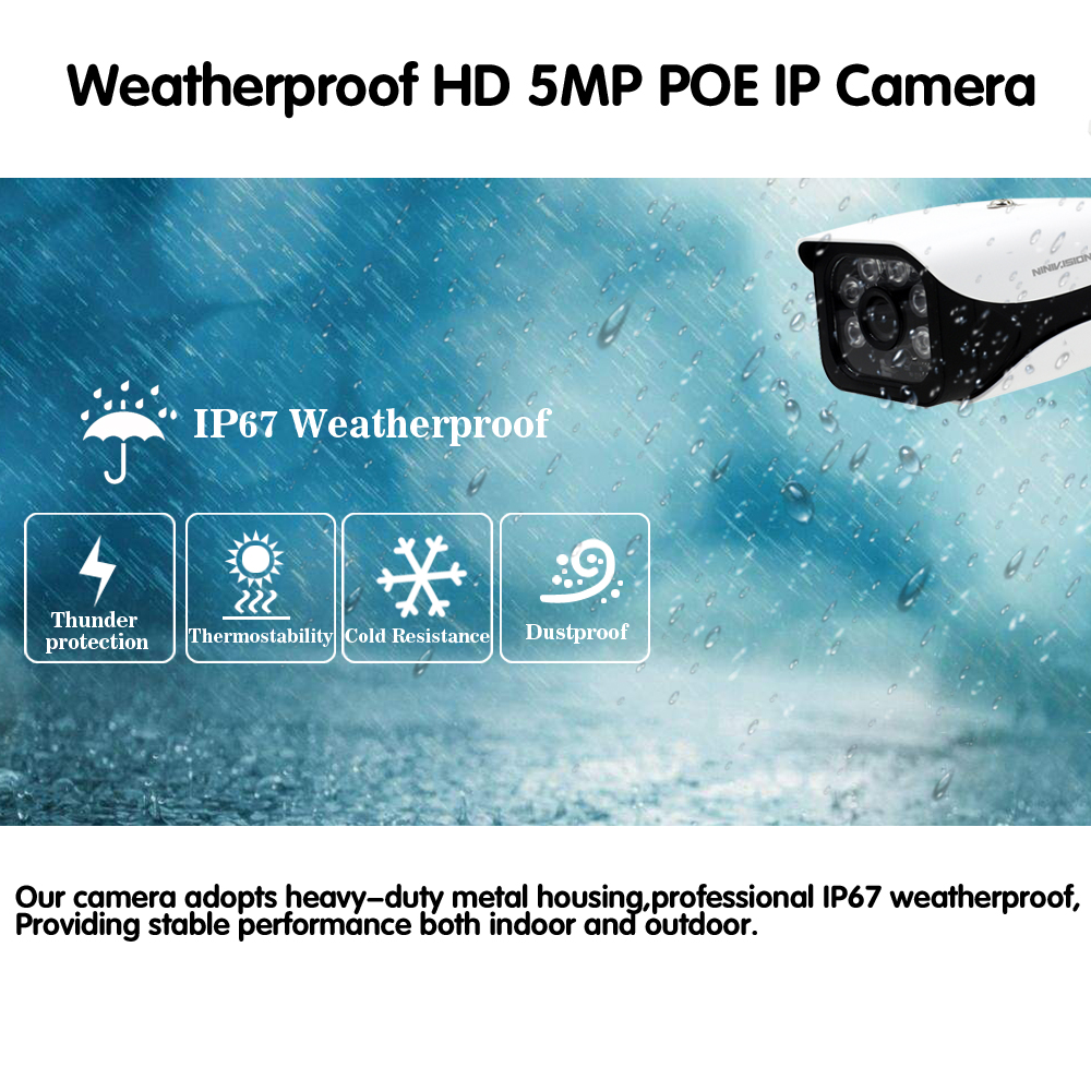 Image 4 - H.265 8CH 5MP CCTV Camera System POE NVR Kit 3.6mm Lens indoor Outdoor Waterproof 5MP POE IP Camera Security Surveillance System-in Surveillance System from Security & Protection