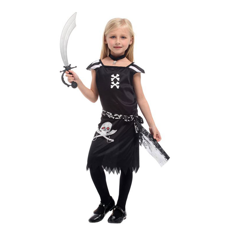 Umorden Black Child Girls Gothic Punk Pirate Costume with Necklace Halloween Purim Carnival New Year Party Costumes Dress Up
