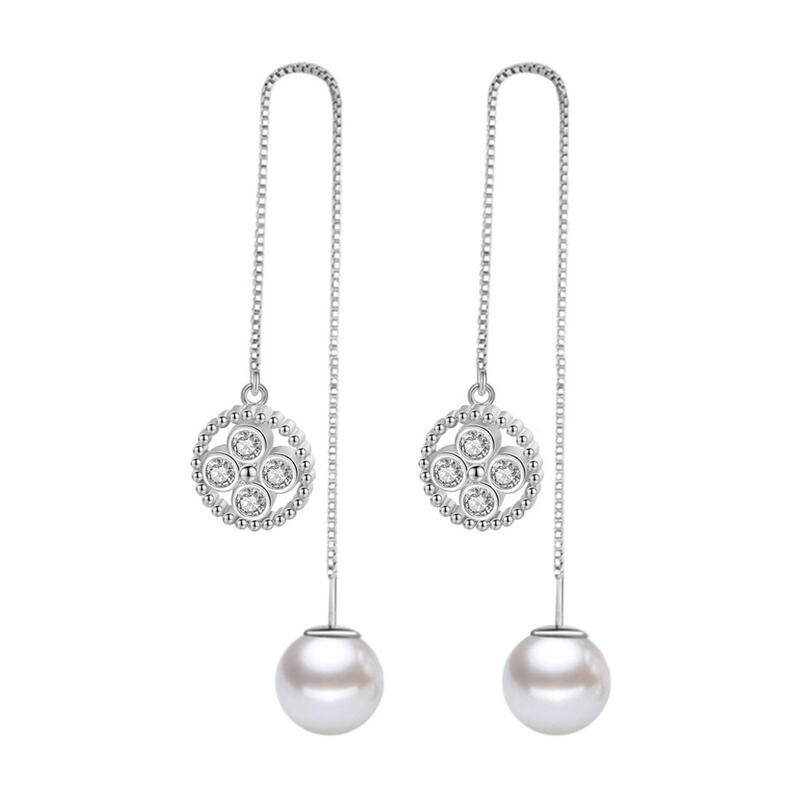 Geometric Round Circle Imitation Pearl Drop Earrings Female Style Water Silver Color Earring for Women Fashion Jewelry