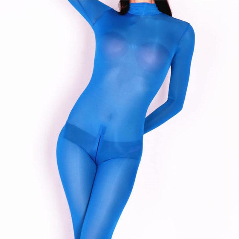 Image 3 - Plus Size Ice Silk Transparent Bodystocking Sexy Hot Erotic Lingerie One Piece Zip Open Crotch Bodysuit Teddies Catsuit OverallsTeddies & Bodysuits   -